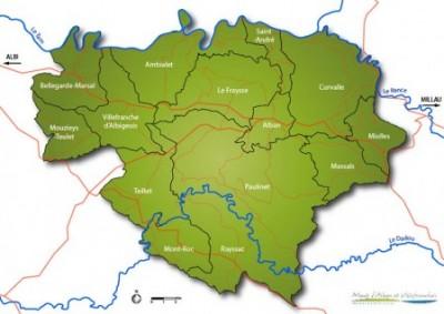 Carte de localisation des 14 communes du territoire de la CCMAV