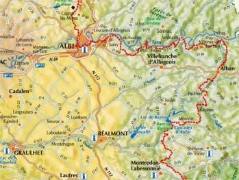 Localisation du GR36 sur les monts d'Alban et le Villefranchois. Ce sentier parcourt le Tarn du Nord au Sud.