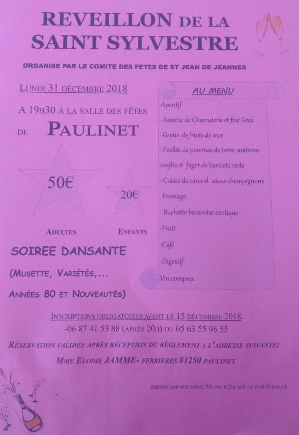 Réveillon de la Saint Sylvestre à Paulinet