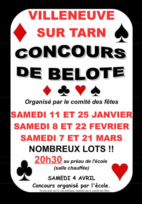 Concours de belote à Villeneuve/Tarn