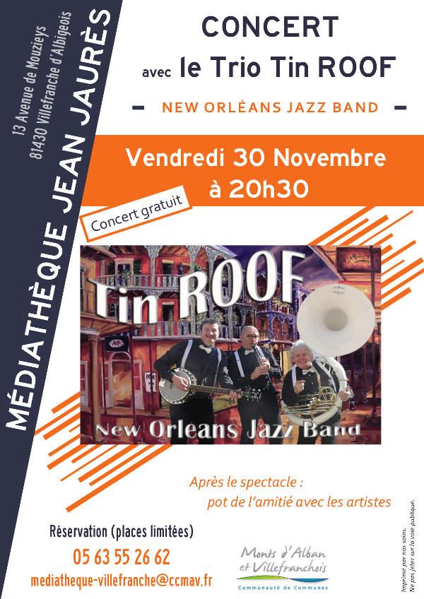 Concert du Trio Tin Roof à la médiathèque Jean Jaurès