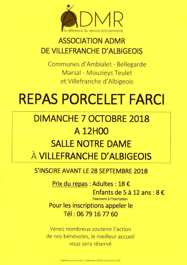 """Repas """"porcelet farci"""" à Villefranche d'Albigeois"""