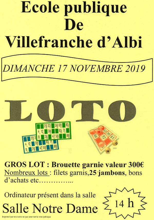 Loto de l'école publique à Villefranche d'Albigeois