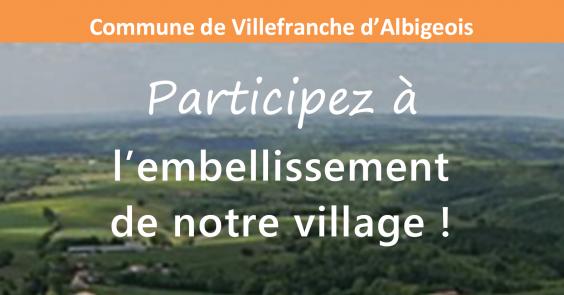 """VILLEFRANCHE 31 mars 2017 20h30 - REUNION PUBLIQUE """"Participez à l'embellissement de notre village"""""""