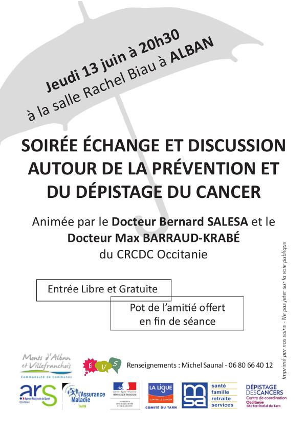 Soirée échange et discussion sur la prévention du cancer à Alban