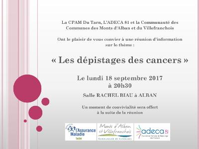 Réunion d'information sur le dépistage des cancers