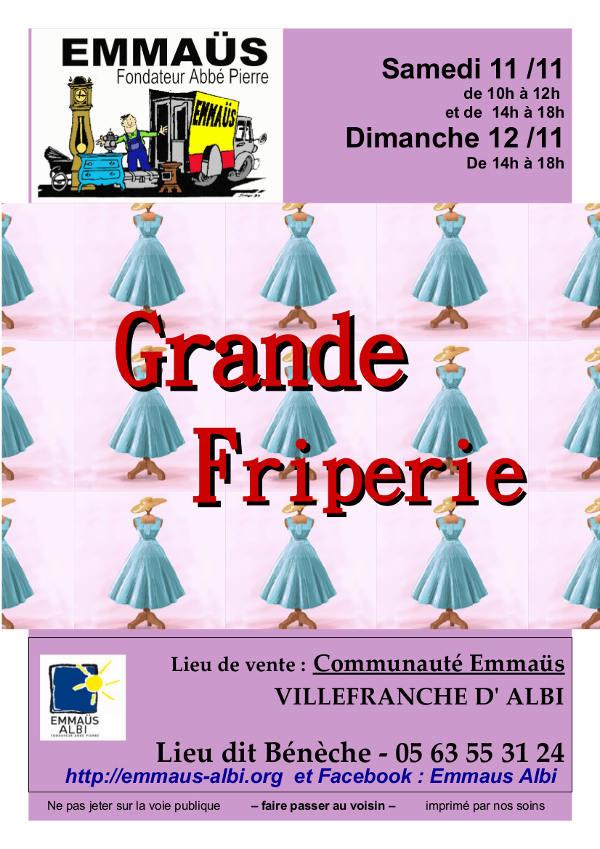 11 et 12 novembre : GRANDE BRADERIE DE VETEMENTS A EMMAUS