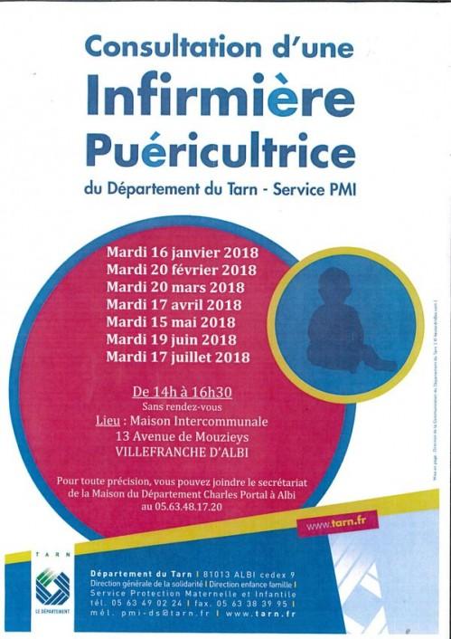 Consultation d'une infirmière puéricultrice à Villefranche d'Albigeois