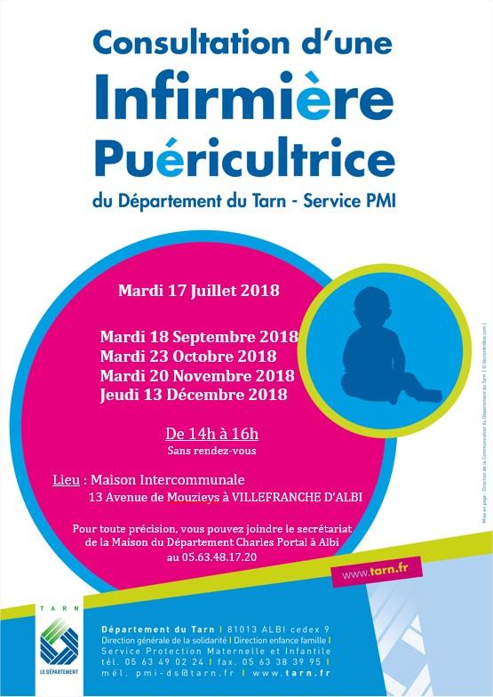 Permanences de la PMI à Villefranche d'Albigeois au 2nd semestre 2018
