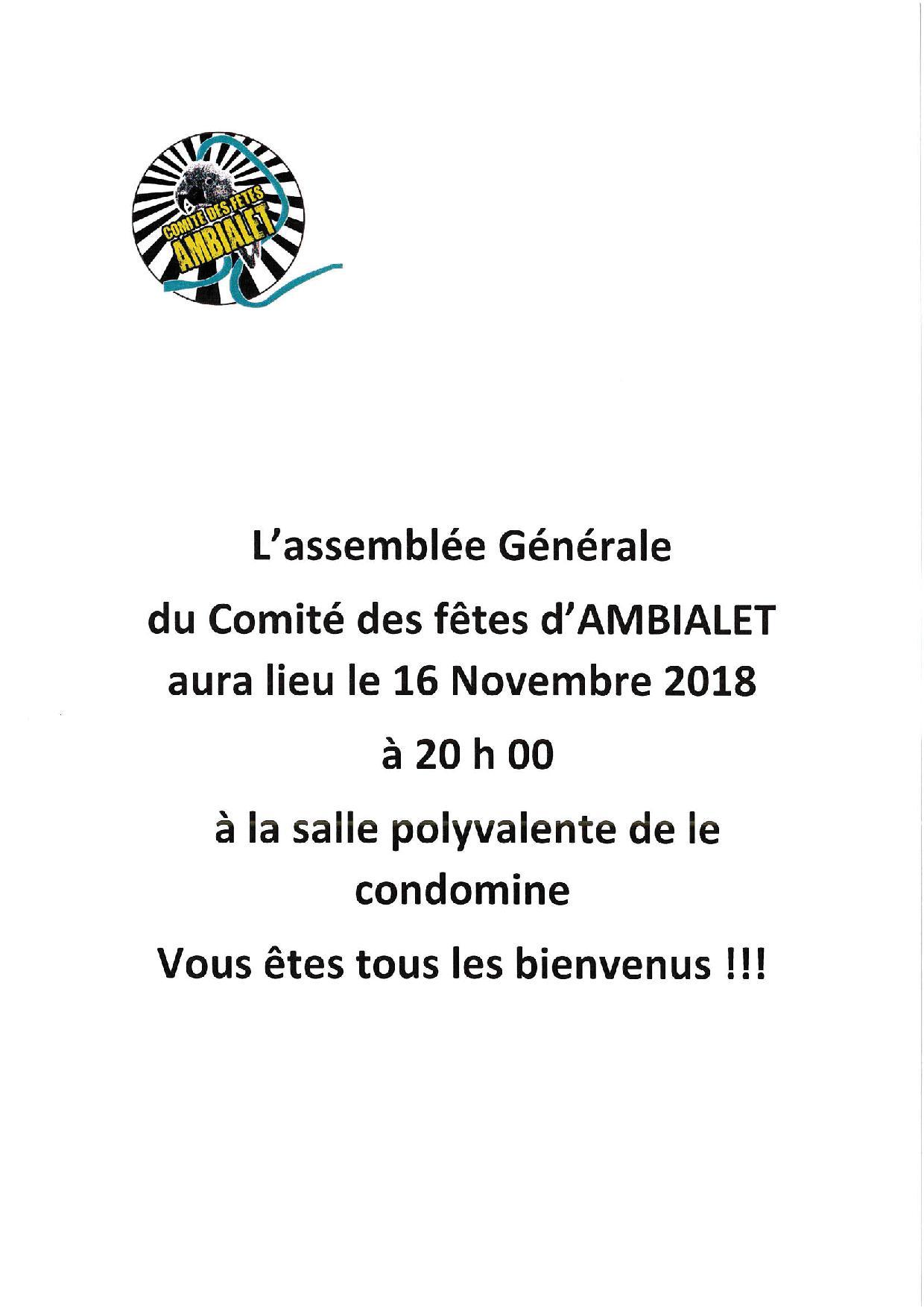 Assemblée générale du comité des fêtes d'Ambialet