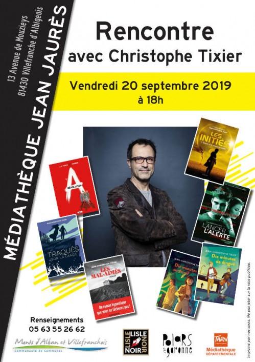 Retrouvez le 20 septembre Jean-Christophe Tixier à la médiathèque Jean Jaurès de Villefranche d'albigeois