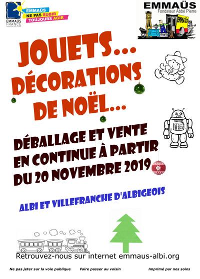 A partir du 20 novembre : VENTE DE JOUETS ET DECORATIONS A EMMAUS