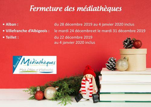 Fermeture fin d'année 2019 des médiathèques