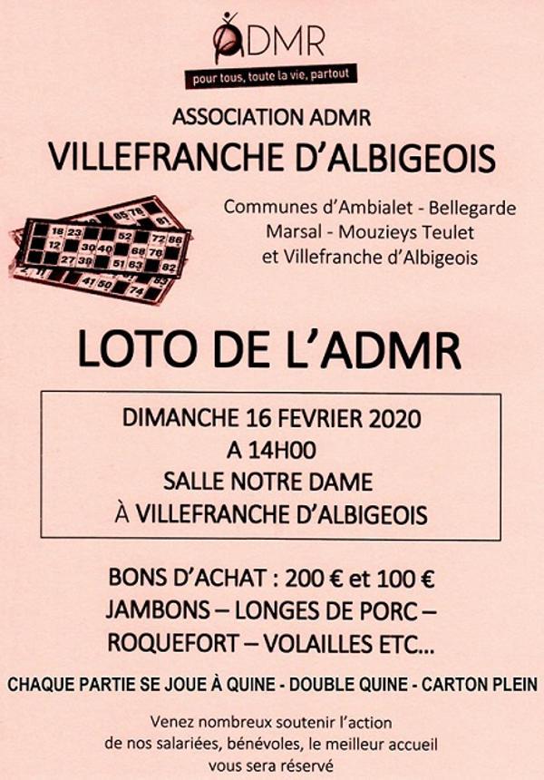Loto de l'ADMR à Villefranche d'Albigeois