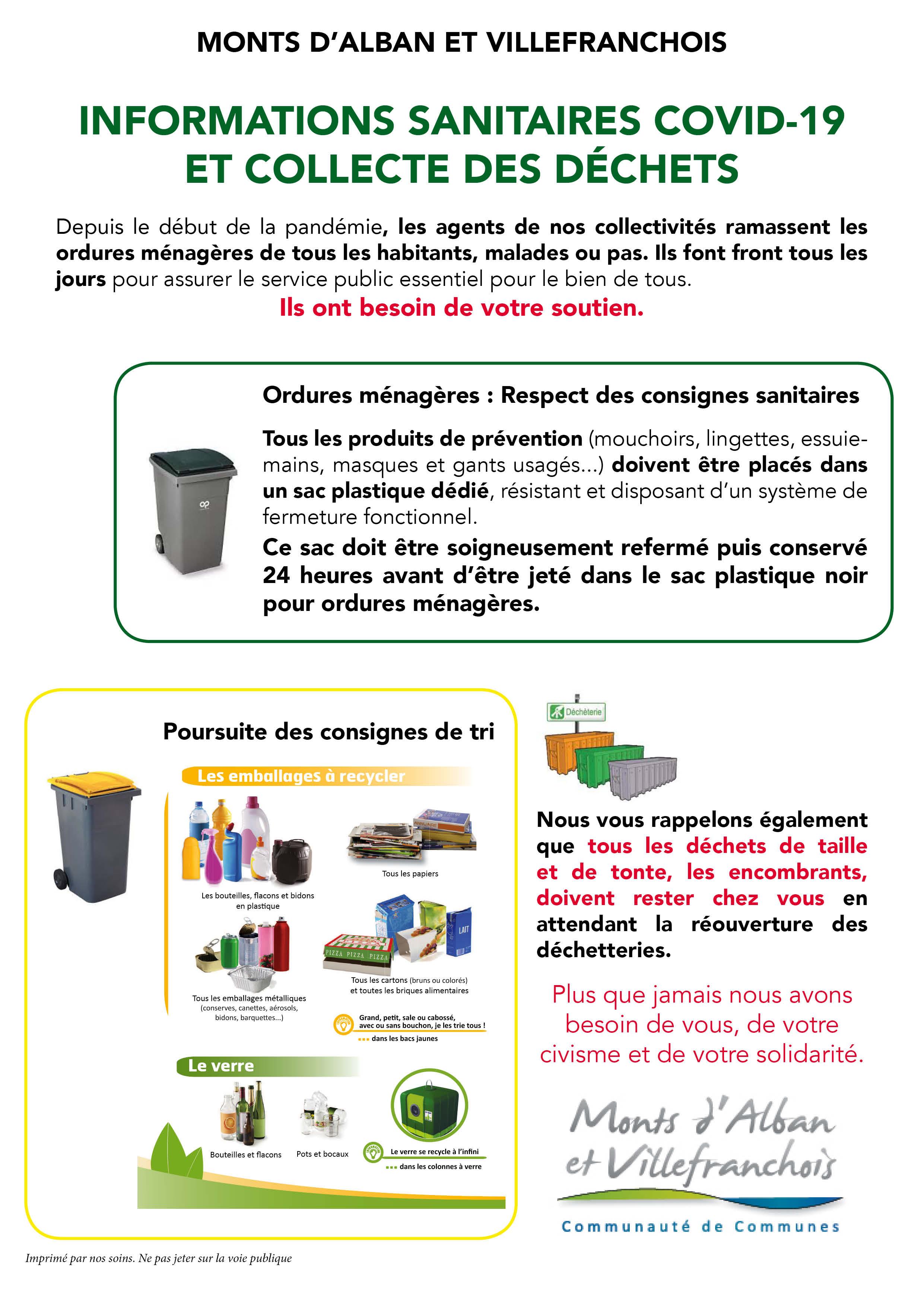 Informations sanitaires Covid-19 et collecte des déchets