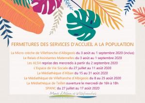 Fermeture des services d'accueil à la population - Vacances d'été