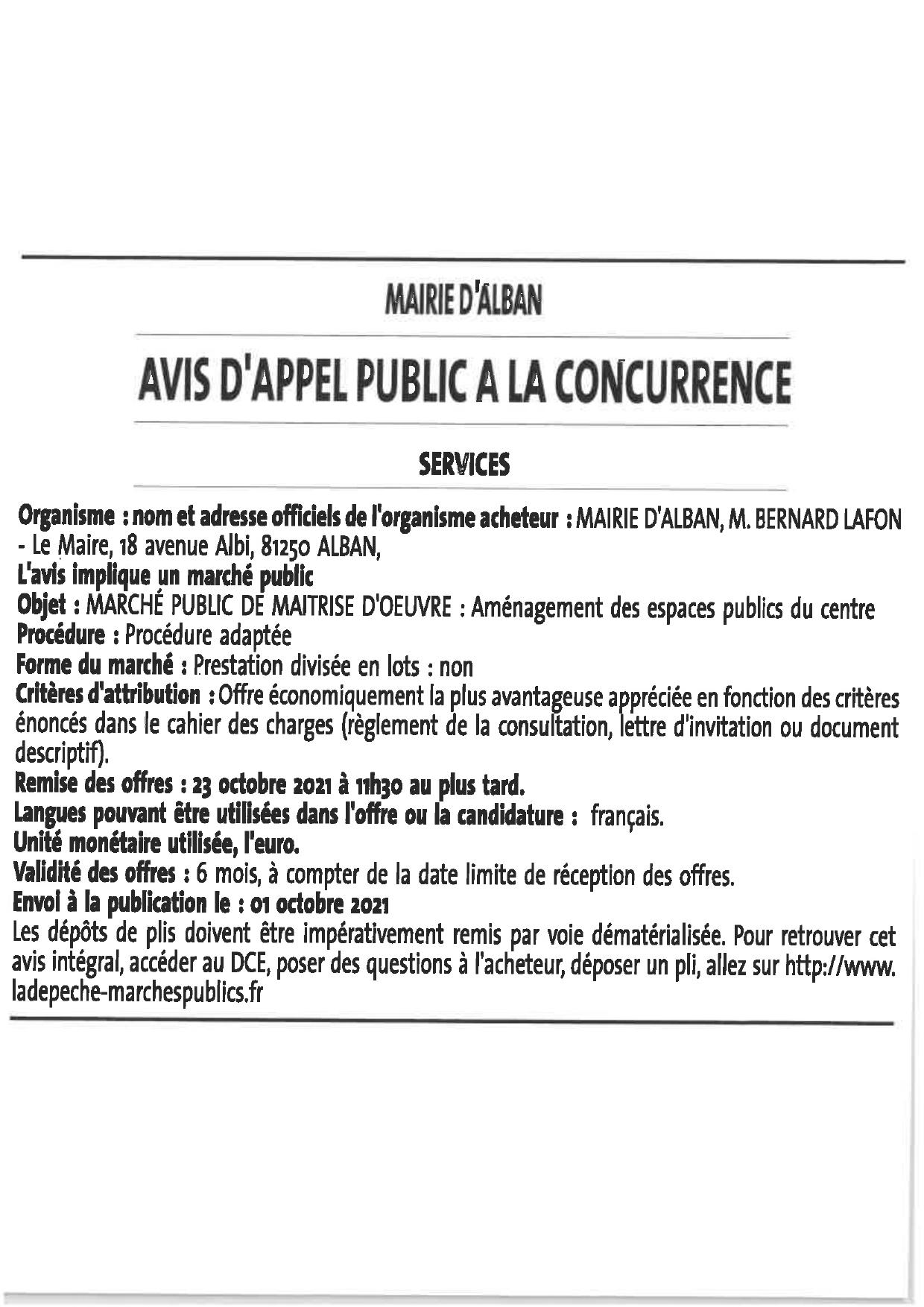 MARCHÉ PUBLIC DE MAÎTRISE D'OEUVRE : Aménagement des espaces publics du centre