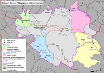 Carte des RPI du territoire