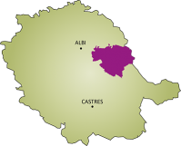 Localisation de la Communauté de Communes des Monts d'Alban et du Villefranchois dans le Tarn